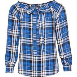 Bluzka z odsłoniętymi ramionami bonprix lodowy niebieski w kratę. Niebieskie bluzki damskie bonprix, z kokardą. Za 37.99 zł.