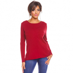 """Sweter """"Freddy"""" w kolorze bordowym. Czerwone swetry damskie So Cachemire, z kaszmiru, z okrągłym kołnierzem. W wyprzedaży za 173.95 zł."""