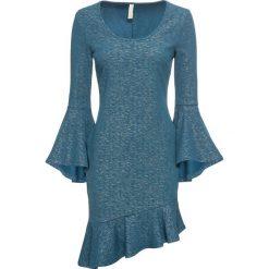 Sukienka w metalicznym kolorze bonprix niebieski. Niebieskie sukienki damskie bonprix, z asymetrycznym kołnierzem. Za 149.99 zł.