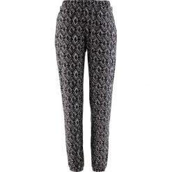 Spodnie shirtowe bonprix czarno-szary wzorzysty. Czarne spodnie materiałowe damskie bonprix, w paski. Za 74.99 zł.