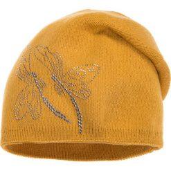 Musztardowa czapka z ważkami QUIOSQUE. Brązowe czapki i kapelusze damskie QUIOSQUE, z dzianiny. W wyprzedaży za 39.99 zł.