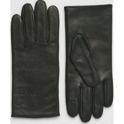 Calvin Klein Jeans - Rękawiczki skórzane. Czarne rękawiczki męskie Calvin Klein Jeans, z jeansu. Za 349.90 zł.