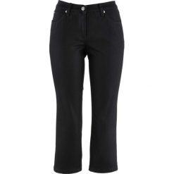 Spodnie 3/4 z twillu ze stretchem w strukturalny wzór bonprix czarny. Czarne spodnie materiałowe damskie bonprix. Za 74.99 zł.