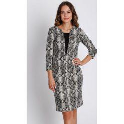 Czarno-biała sukienka z rękawem 3/4 BIALCON. Białe sukienki damskie BIALCON, eleganckie. W wyprzedaży za 156.00 zł.