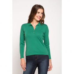 """Koszulka polo """"Podcast"""" w kolorze zielonym. Zielone bluzki damskie Scottage, z bawełny, klasyczne, z golfem. W wyprzedaży za 45.95 zł."""