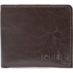 Solier - Portfel skórzany. Brązowe portfele męskie Solier, z aplikacjami, z materiału. W wyprzedaży za 79.90 zł.