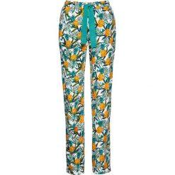 Spodnie z wiązanym paskiem bonprix biały z nadrukiem. Spodnie materiałowe damskie marki DOMYOS. Za 49.99 zł.