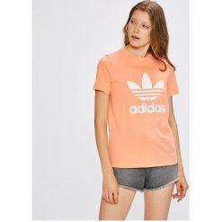 Adidas Originals - Top. Szare topy damskie adidas Originals, z nadrukiem, z bawełny, z okrągłym kołnierzem, z krótkim rękawem. W wyprzedaży za 99.90 zł.