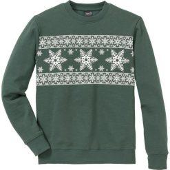 Bluza Regular Fit bonprix zielony wojskowy - biały z nadrukiem. Zielone bluzy męskie bonprix, z nadrukiem. Za 74.99 zł.