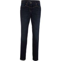 Dżinsy modelujące sylwetkę z wstawką w prążek z boku w talii bonprix ciemny denim. Jeansy damskie marki bonprix. Za 109.99 zł.