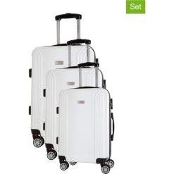 Zestaw walizek w kolorze białym - 3 szt. Walizki męskie Platinium, z materiału. W wyprzedaży za 599.95 zł.