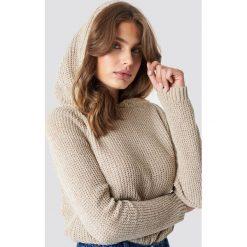 Trendyol Szenilowy sweter z kapturem - Beige. Brązowe swetry damskie Trendyol, z dzianiny, z kapturem. Za 80.95 zł.
