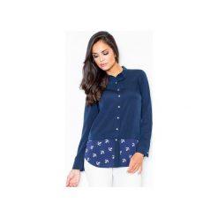 Koszula M385 Granat. Niebieskie koszule damskie Figl, z materiału, klasyczne, z klasycznym kołnierzykiem, z długim rękawem. Za 99.00 zł.