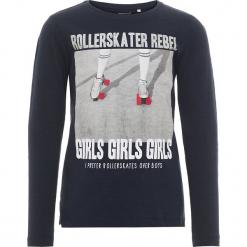 """Koszulka """"Oline"""" w kolorze granatowym. Niebieskie bluzki dla dziewczynek Name it Kids, z bawełny, z okrągłym kołnierzem, z długim rękawem. W wyprzedaży za 42.95 zł."""
