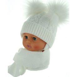 Czapka niemowlęca z szalikiem CZ+S 016B biała. Czapki dla dzieci marki Reserved. Za 47.14 zł.
