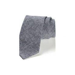 Krawat męski LINO len. Szare krawaty i muchy Hisoutfit, ze lnu. Za 129.00 zł.
