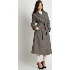 Beżowo-czarny płaszcz BIALCON. Brązowe płaszcze damskie BIALCON, z wełny, eleganckie. Za 548.00 zł.