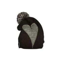 Czapka CHAPOOSIE Gray Heart & Pompon Beanie. Czarne czapki i kapelusze damskie Chapoosie, z dzianiny. Za 89.00 zł.