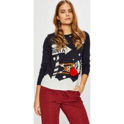 Only - Sweter. Brązowe swetry damskie Only, z dzianiny, z okrągłym kołnierzem. Za 89.90 zł.