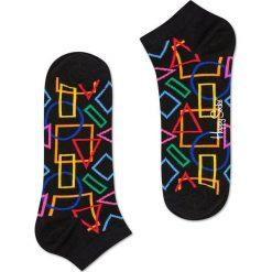 Happy Socks - Stopki Geometric. Czarne skarpety damskie Happy Socks, z bawełny. W wyprzedaży za 19.90 zł.