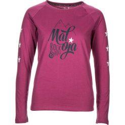 """Koszulka """"BoiseM."""" w kolorze jagodowym. Czerwone bluzki damskie Maloja, z nadrukiem, z bawełny, z okrągłym kołnierzem, z długim rękawem. W wyprzedaży za 86.95 zł."""