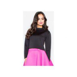 Bluzka M341 Czarny. Czarne bluzki damskie Figl, ze stójką, z długim rękawem. Za 109.00 zł.