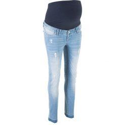 Dżinsy ciążowe SKINNY bonprix niebieski bleached. Niebieskie jeansy damskie bonprix. Za 129.99 zł.