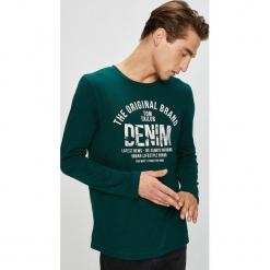 Tom Tailor Denim - Longsleeve. Czarne bluzki z długim rękawem męskie Tom Tailor Denim, z nadrukiem, z bawełny, z okrągłym kołnierzem. W wyprzedaży za 69.90 zł.