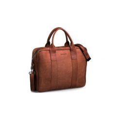 Jasno brązowa męska torba na ramię brodrene bl01, Kolor wnętrza: Czerwony. Brązowe torby na laptopa męskie Brødrene, ze skóry. Za 350.00 zł.