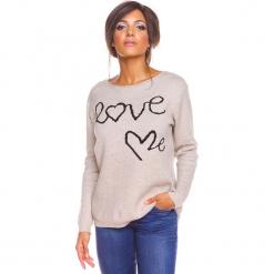 """Sweter """"Love"""" w kolorze beżowym. Brązowe swetry damskie So Cachemire, z kaszmiru, z okrągłym kołnierzem. W wyprzedaży za 173.95 zł."""