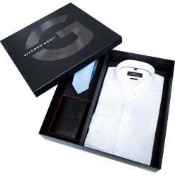 Prezentownik: koszula, krawat i portfel. Białe koszule męskie Giacomo Conti, z jedwabiu, z klasycznym kołnierzykiem. Za 399.00 zł.