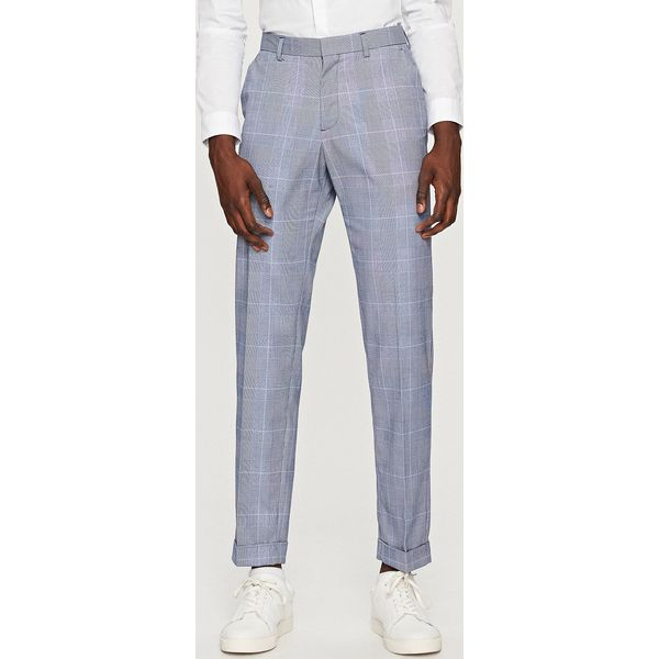 d8442240ba3f9 Spodnie garniturowe w kratę - Niebieski - Eleganckie spodnie męskie ...