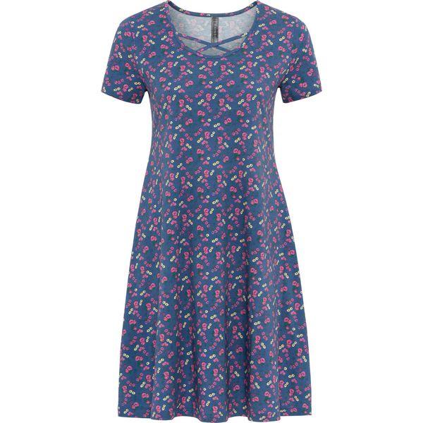 442e381879 Sukienka shirtowa z paskami bonprix niebieski w kwiaty - Sukienki ...