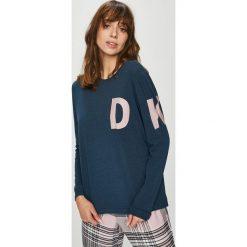 Dkny - Bluzka piżamowa. Szare piżamy damskie DKNY, z nadrukiem, z bawełny, z długim rękawem. W wyprzedaży za 199.90 zł.