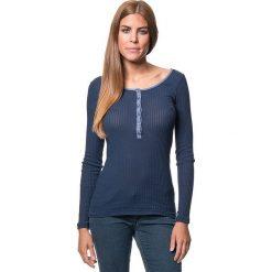 Koszulka w kolorze granatowym. Bluzki damskie Benetton, z bawełny, z okrągłym kołnierzem, z długim rękawem. W wyprzedaży za 64.95 zł.