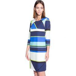 Dopasowana wzorzysta sukienka z rękawem 3/4 BIALCON. Szare sukienki damskie BIALCON, wizytowe. W wyprzedaży za 111.00 zł.