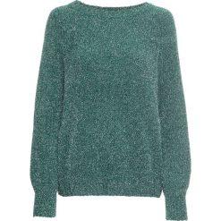 Sweter z szenili z lureksową nitką bonprix niebieskozielony morski. Zielone swetry damskie bonprix, z okrągłym kołnierzem. Za 99.99 zł.