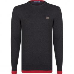 Sweter w kolorze szarym. Szare swetry przez głowę męskie Giorgio di Mare, z aplikacjami, z bawełny, z okrągłym kołnierzem. W wyprzedaży za 152.95 zł.