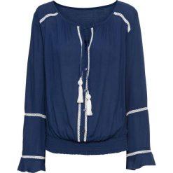 Tunika z wiązanymi troczkami bonprix kobaltowo-kremowy. Niebieskie tuniki damskie bonprix. Za 59.99 zł.