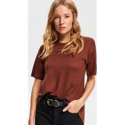 T-shirt z lyocellu - Brązowy. Brązowe t-shirty damskie Reserved, z lyocellu. Za 49.99 zł.