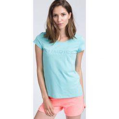 T-shirt damski TSD453 - mięta. Szare t-shirty damskie 4f, z nadrukiem, z bawełny. Za 39.99 zł.