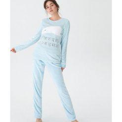 Dwuczęściowa piżama z niedźwiadkiem - Niebieski. Piżamy damskie marki MAKE ME BIO. W wyprzedaży za 59.99 zł.