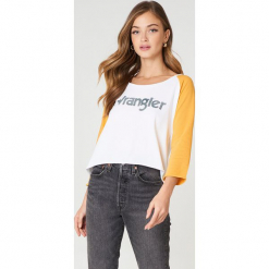 Wrangler Krótki T-shirt z długim rękawem Raglan - White. Białe t-shirty damskie Wrangler, z nadrukiem. W wyprzedaży za 70.98 zł.