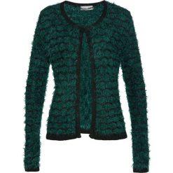 Sweter rozpinany z przędzy z długim włosem bonprix głęboki zielony - czarny. Zielone kardigany damskie bonprix, z haftami. Za 74.99 zł.