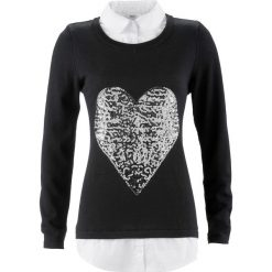 Sweter 2 w 1 z koszulową wstawką, długi rękaw bonprix czarny. Swetry damskie marki KALENJI. Za 49.99 zł.