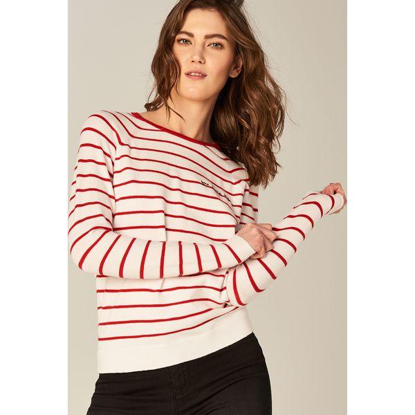 90d9ddea Klasyczny sweter w paski - Czerwony