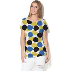 Colour Pleasure Koszulka damska CP-034  4 biało-granatowo-czarno-żółta r. M-L. Bluzki damskie marki Colour Pleasure. Za 70.35 zł.