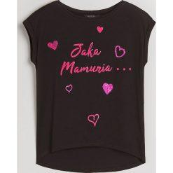 Koszulka z aplikacją Little Princess - Czarny. Czarne bluzki damskie Mohito, z aplikacjami. Za 49.99 zł.