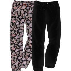 Spodnie do spania (2 pary) w 2 długościach bonprix czarny z nadrukiem. Czarne spodnie materiałowe damskie bonprix, z nadrukiem. Za 75.98 zł.