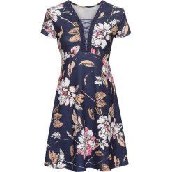 Sukienka bonprix niebieski. Niebieskie sukienki damskie bonprix, z nadrukiem, ze sznurowanym dekoltem, z krótkim rękawem. Za 129.99 zł.